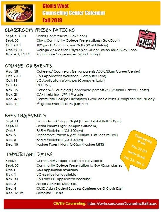 Fall Counseling Calendar